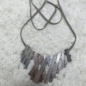 Marlyn Schiff silver tone statement necklace